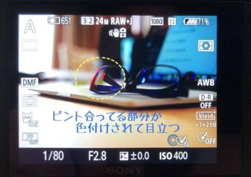 一眼レフカメラのピント合わせの時に便利なピーキング機能