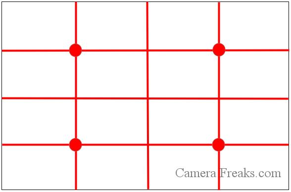 一眼レフの基本的な構図の一種の四分割法の図解