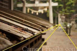 一眼レフの基本的な構図である放射構図を使って撮影した神社の境内の風景