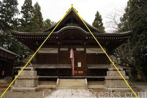 一眼レフの基本的な構図である三角構図を使って撮影した神社の本殿の写真