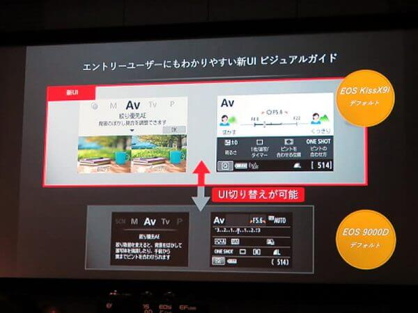 EOS9000DとX9iのUI