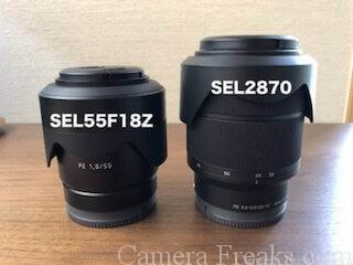 SEL55F18ZとキットレンズのSEL2870の比較