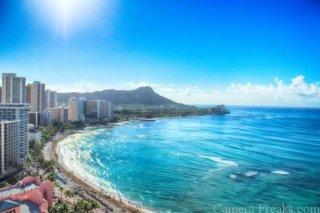 一眼レフでハワイで超広角レンズで撮影した海の写真