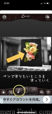 ⑤画像加工アプリColorfulで白黒をカラーに変えたい場所を塗る