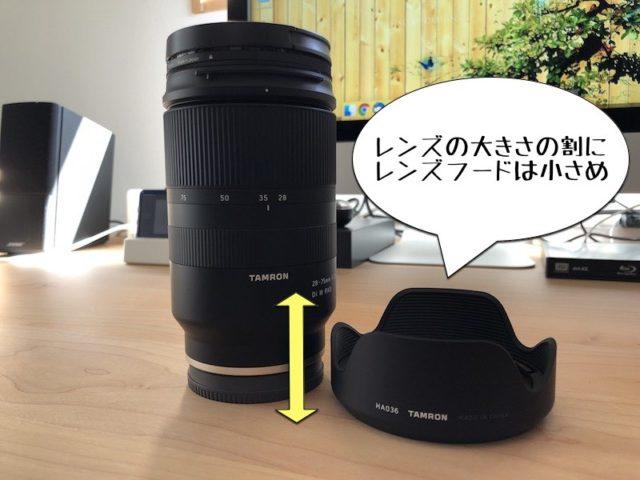 タムロンソニーEマウント用フルサイズ対応標準ズームレンズ タムロン 28-75mm F:2.8 Di III RXD (Model A036)はレンズフードが小さい