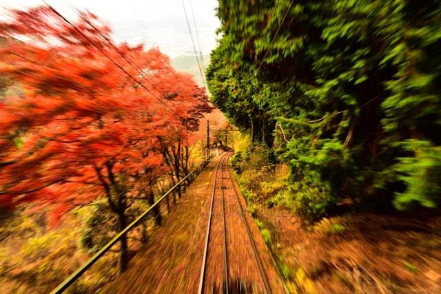 一眼レフで流し撮りで撮影した叡山鉄道の写真