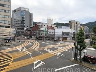 浜大津駅から見下ろす京阪電車