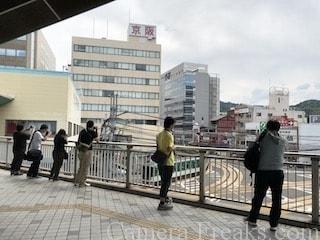 浜大津駅で京阪電車の写真を撮る